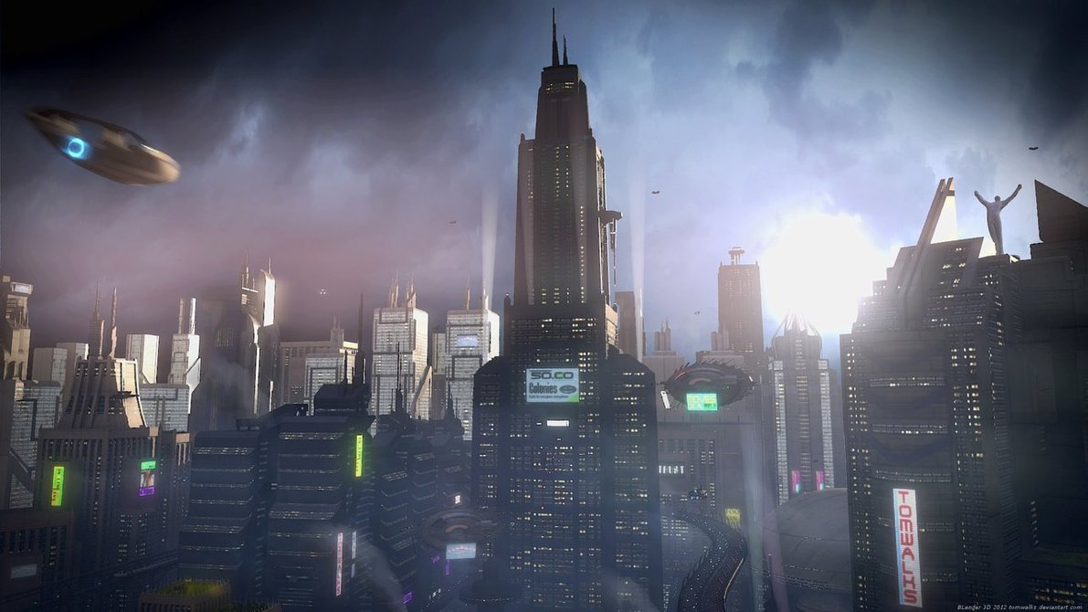 Sci-Fi city animated concepts (Blender 3D)