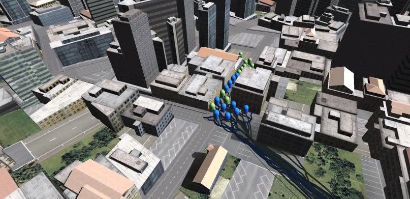 Trail Rending of Agents with NavMesh, Physics, Unity and CityEngine
